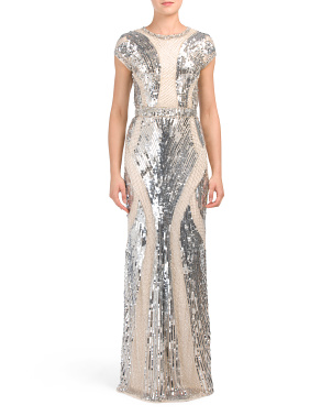Petite All Over Sequins Gown