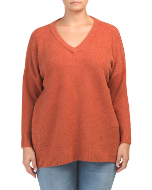 Plus Flossy V-neck Sweater