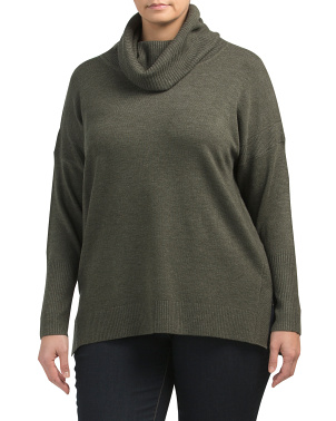 Plus Step Hem Cowl Neck Sweater