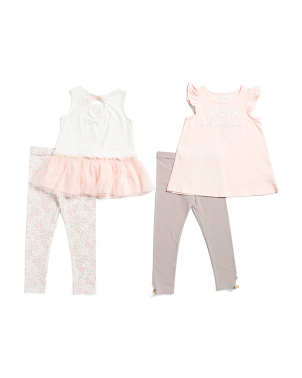 Toddler Girls 4pc Mix & Match Ballerina Mice Top And Leggings