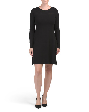 Sheer Yoke Fit And Flare Sweater Dress