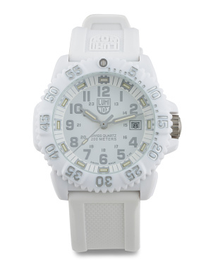 Men's Swiss Made Colormark White Out Silicone Strap Watch