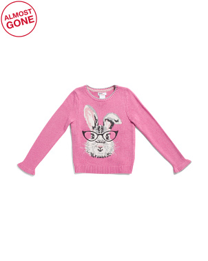 Little Girls Smart Bunny Pullover Sweater