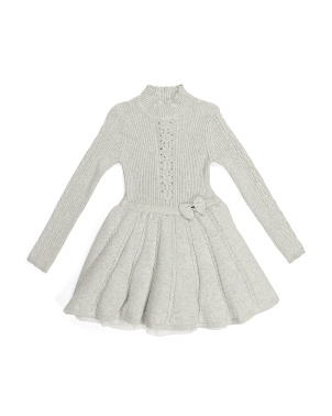 Little Girls Cable Sweater Dress With Tulle Skirt