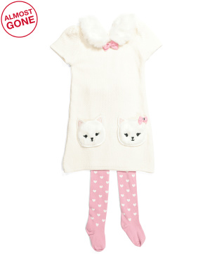 Toddler Girls Faux Fur Collar Kitty Pocket Sweater Dress