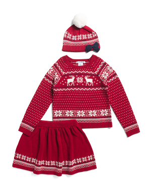 Toddler & Little Girls 2pc Reindeer Jacquard Sweater Skirt Set