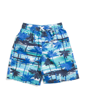Little Boys Palm Tree Swim Trunks