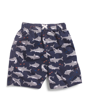 Little Boys Shark Swim Trunks