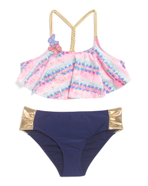 Little Girls 2pc Flounce Top Swimsuit