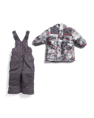 Infant Boys Camo Snowsuit With Bib