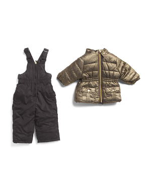 Infant Girls 2pc Metallic Snowsuit With Bib