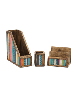 3pc Wooden Fabric Office Organizer Set