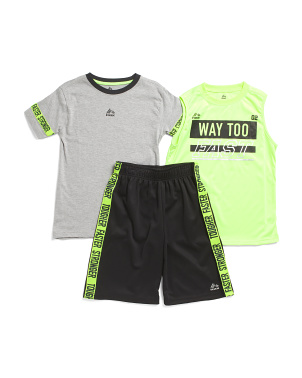 Big Boys 3pc Jersey Tee And Mesh Shorts Active Set