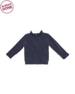 Toddler Boys Zip Cable Cardigan Sweater