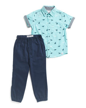Little Boys 2pc Poplin Shirt & Joggers Set