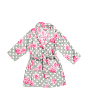 Girls Polka Dot Floral Fleece Robe