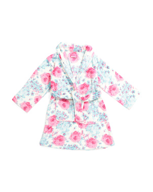 Girls Rose Bouquet Plush Robe