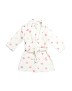 Girls Heart Fleece Robe