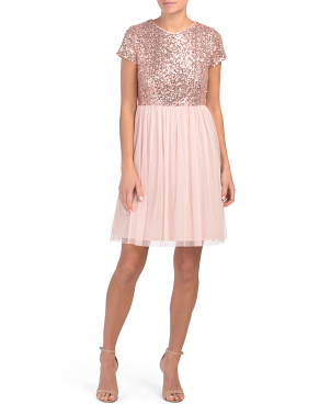 Petite A-line Dress With Sequin Top