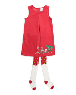 Toddler Girls Corduroy Animal Christmas Dress & Tights