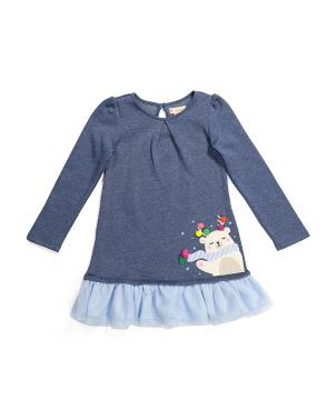 Toddler Girls Holiday Polar Bear Ruffle Dress