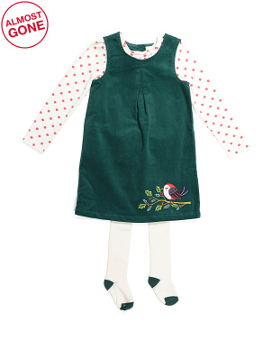 Toddler Girls Corduroy Bird Jumper With Tights