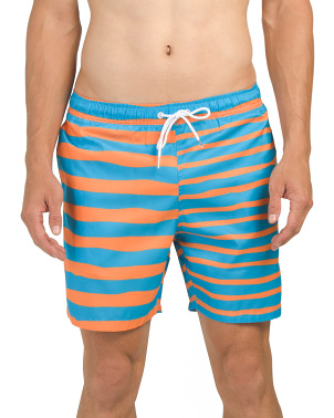 Neon Omg Stripes Swim Shorts