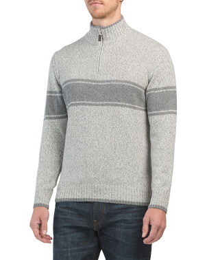 Made In Italy Wool Blend Chest Stripe Sweater