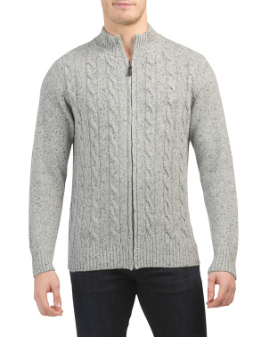 Made In Italy Full Zip Wool Blend Cable Cardigan
