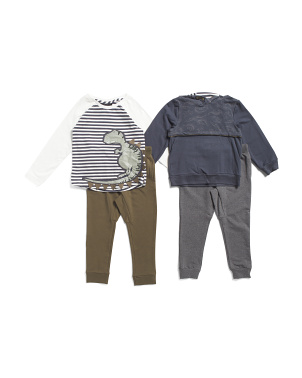 Toddler Boys 3pc Mix And Match Dino Hoodie Pant Set