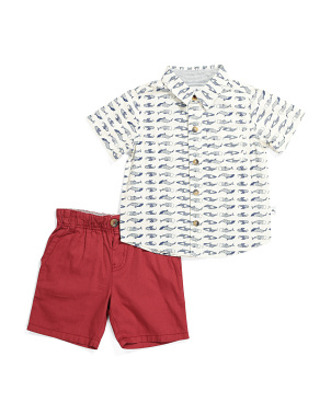 Toddler Boys 2pc Whale Shirt And Short Set