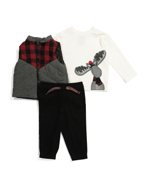 Infant Boys 3pc Vest Pant Set