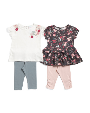 Infant Girls 4pc Mix & Match Floral Capris Set