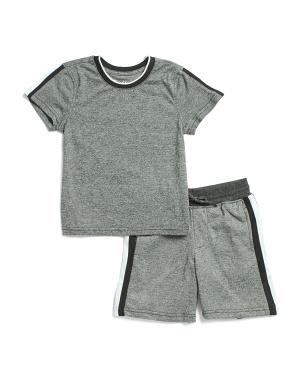 Little Boys Marled Stripe Rib Short Set