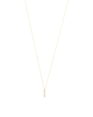 Made In Usa 14k Gold Cz Bar Necklace