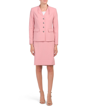 Petite Button Jacket And Skirt Suit