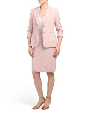 Petite Roll Sleeve Jacket Skirt Suit
