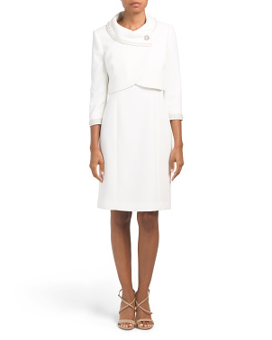 Petite Crop Pearl Trim Jacket Dress
