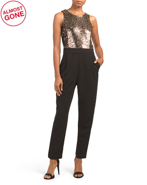 Made In Italy Leopard Sequin Jumpsuit