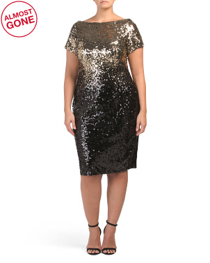 Plus Ombre Sequins Cap Sleeve Dress