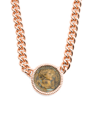 Made In Italy 14k Rose Gold Plated Bronze Coin Necklace
