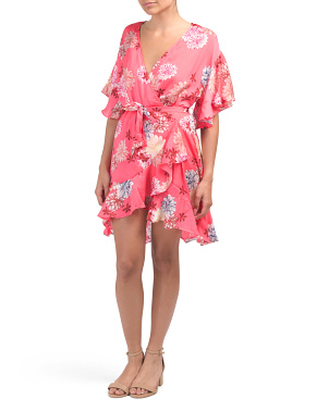 Juniors Blossom Floral Wrap Dress