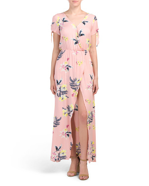 Juniors Floral Crepe Dress With Shorts