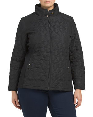 Plus Quilted Jacket Side Stretch Coat