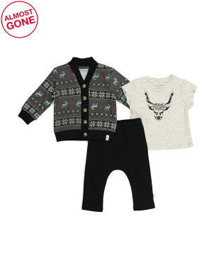 Baby Boys 3pc Fairisle Pant Set