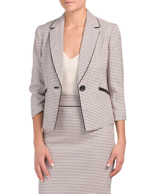 Petite Notch Collar Jacquard Jacket