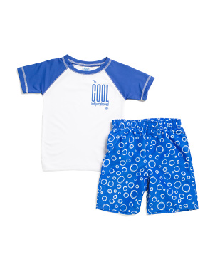 Little Boys 2pc Cool Kid Rash Guard Swim Set