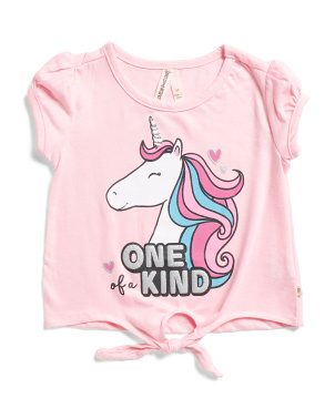 Toddler Girls Tie Front Unicorn Tee