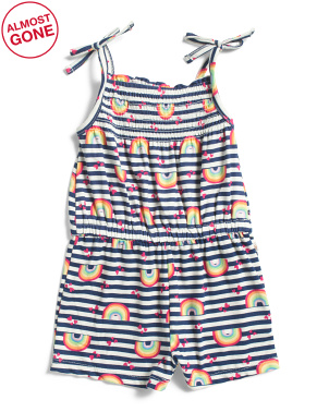 Toddler Girls Bow Strap Rainbow Romper