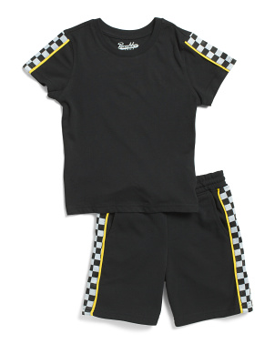 Little Boys 2pc Checkered Tee And Shorts Set